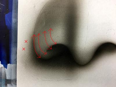 エアブラシで鼻を描く練習