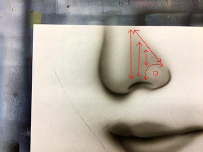 口と鼻の描き方