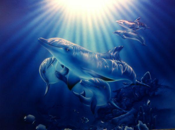 エアブラシアートイルカの絵