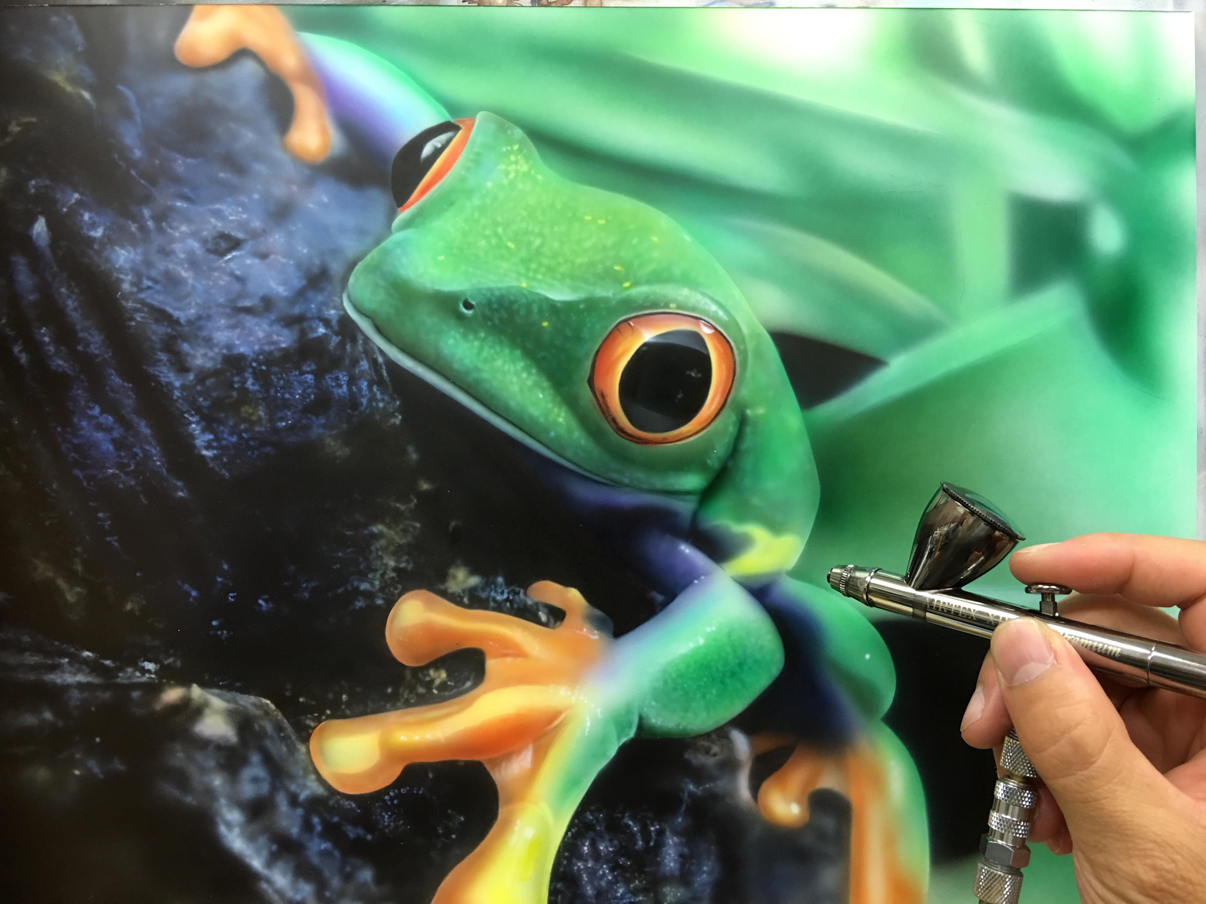 エアブラシ カエルの絵