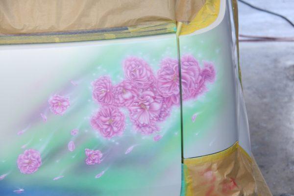 エアブラシアート 桜の絵