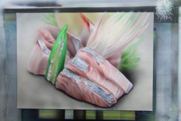 エアブラシアート 刺身の絵