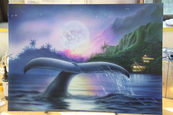 エアブラシアートクジラの絵