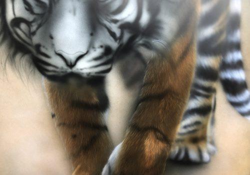 エアブラシアート動物画編、動物の毛の色付け