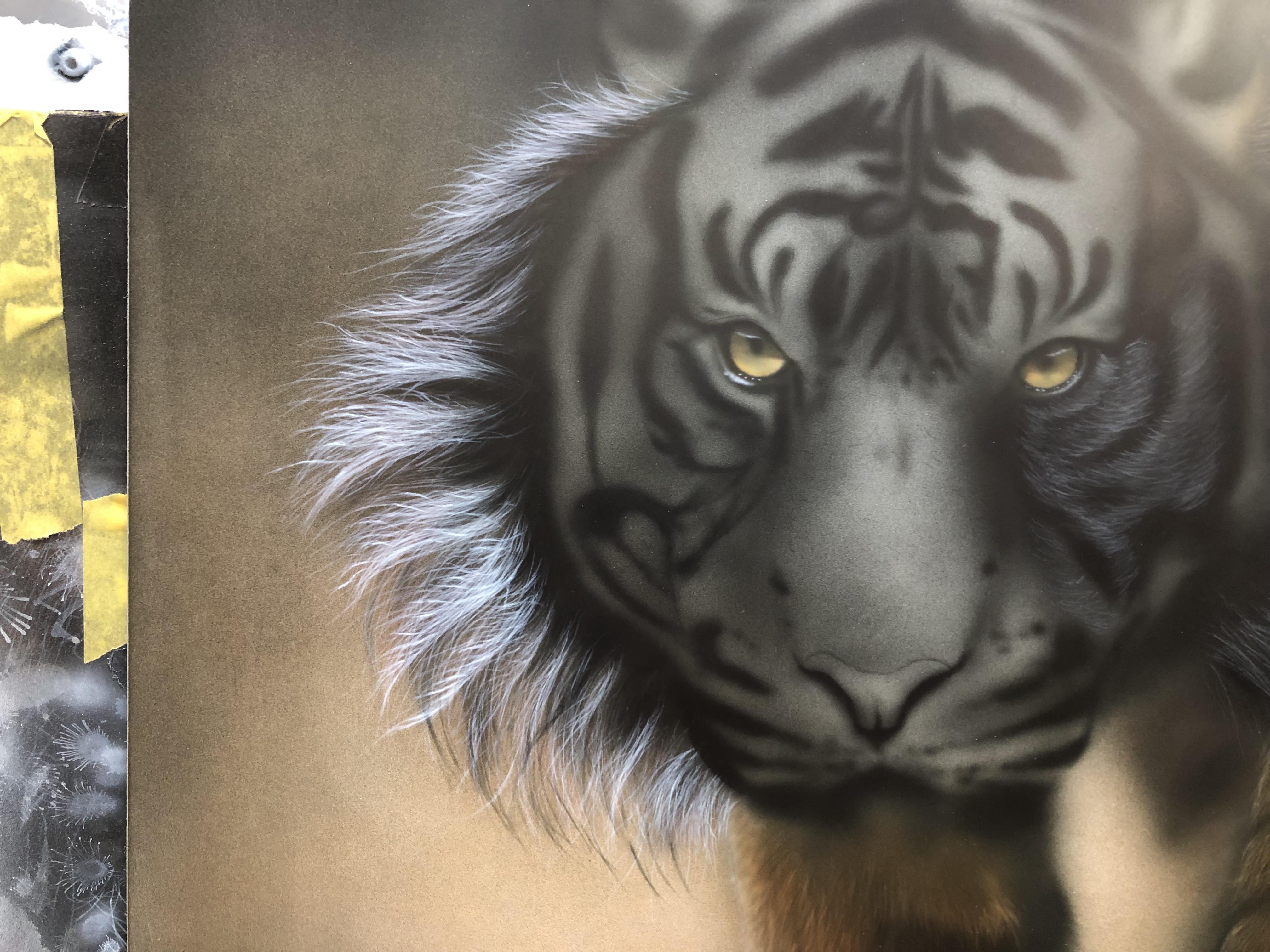 エアブラシアート動物画編、トラの顔の毛の描き方
