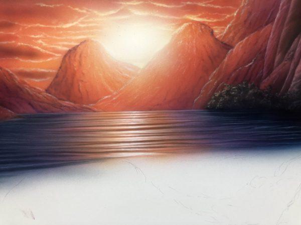 エアブラシアート風景画編海の描き方