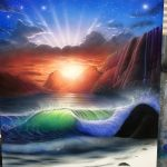 エアブラシアート風景画コース波の描き方