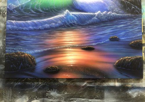 エアブラシアート風景画編浜の描き方